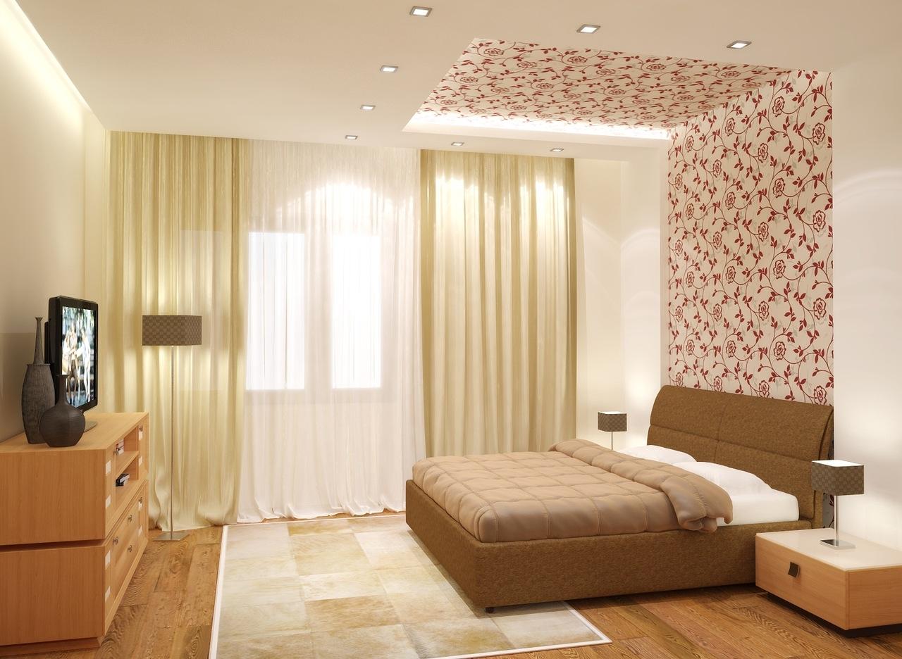 Дизайн потолка и обоев в спальне идеи