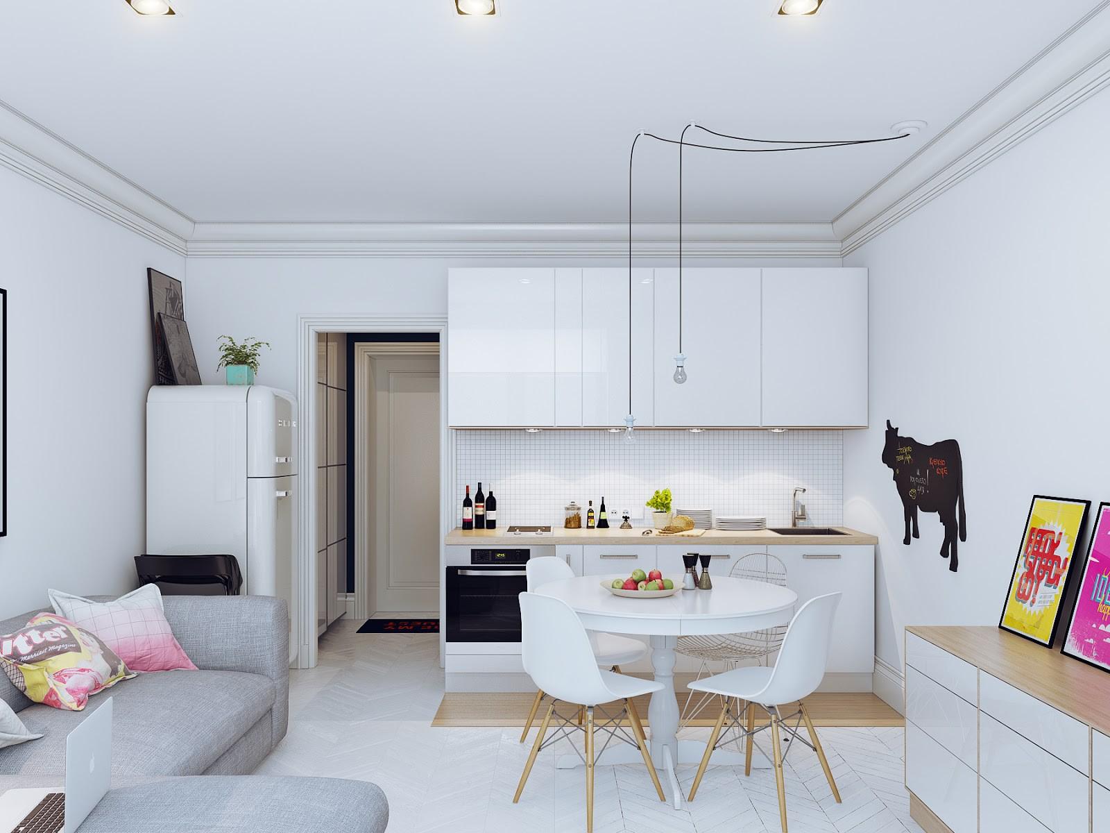 Дизайн студии 27 кв.м с балконом